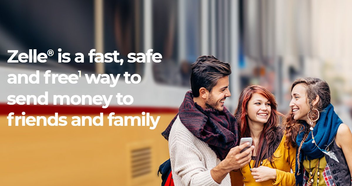 Zelle is a fast, safe and free way to send money in our app